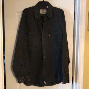 Levi Black Denim Button Down Shirt  Size XL